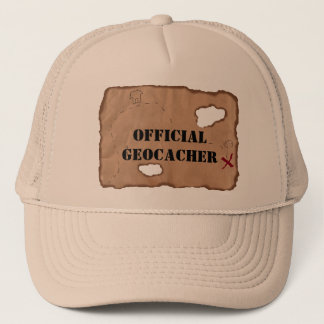 Hat: Official Geocacher on an Old Map Trucker Hat
