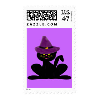 Hat On A Cat Postage Stamps
