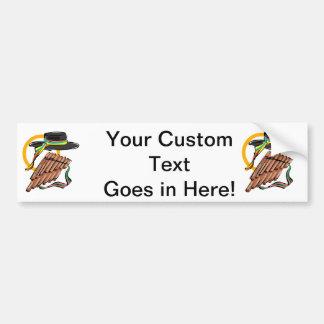 hat pan flute ribbon music design.png bumper sticker