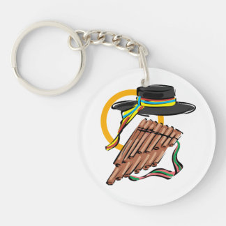 hat pan flute ribbon music design.png keychain