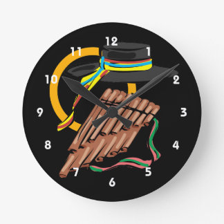 hat pan flute ribbon music design.png round clock