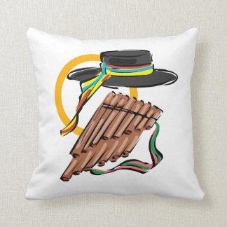 hat pan flute ribbon music design.png throw pillow