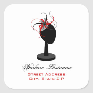 Hat Stand & Red & Black Fascinator Address Sticker