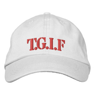 Hat-T.G.I.F-RED DESIGN Embroidered Baseball Hat