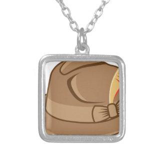 Hat Vector Square Pendant Necklace