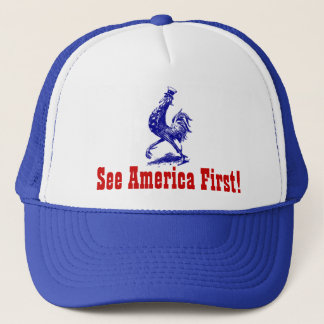 "Hat Vintage ""see America First!"" Uncle Sam rooster"