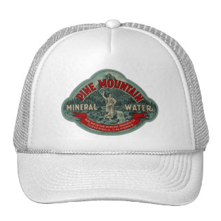 Hat w Vintage Ad Label Pine Mountain Mineral Water