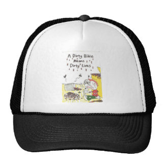 Hat with animated pictures of funny church sayings