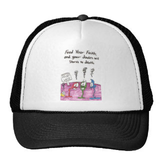 Hat with animated pictures of funny church signs