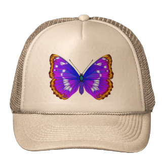 Hat with blue buttehfly