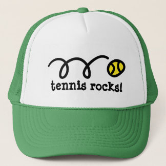 Hat with bouncing tennis ball design