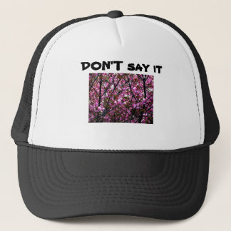 Hat with Funny Saying and Cherry Blossoms Photo