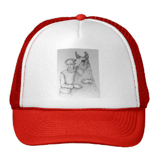 Hat with girl and llama drawing