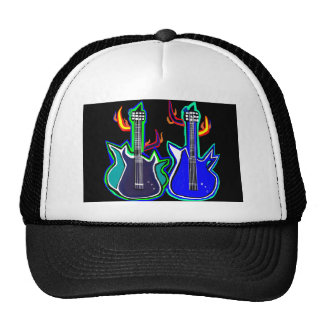 hat with hand illustrated guitars