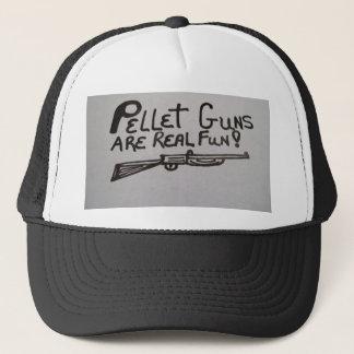 Hat with pellet gun design on it.