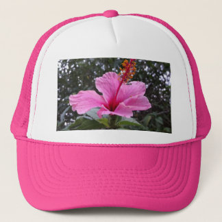 Hat With Pink Hibiscus Flower