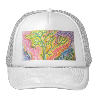 Hat with Psychedelic Colourful Tree Design