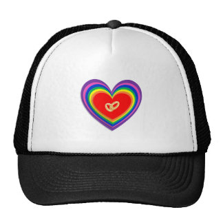 Hat With Rainbow-Hearts and 2 Wedding Rings