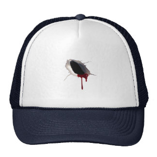Hat with Realistic Bullet Hole and Blood