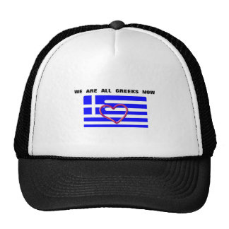 """Hat with the moto """"We are all Greeks now"""""""