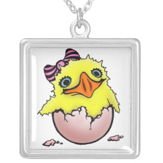 Hatched baby chicken square pendant necklace