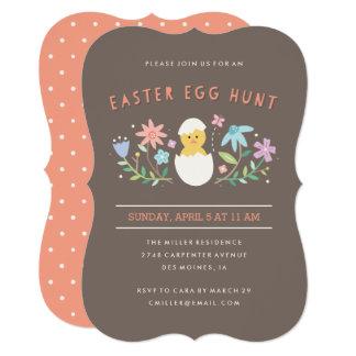 Hatched Easter Egg Hunt Invitation - Chocolate