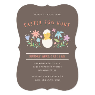 "Hatched Easter Egg Hunt Invitation - Chocolate 5"" X 7"" Invitation Card"