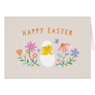 Hatched Easter Greeting Card - Beige