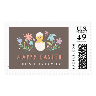 Hatched Easter Postage Stamp - Chocolate