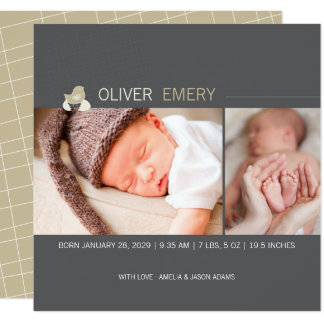 Hatched Egg Baby Chick Photo Birth Announcement
