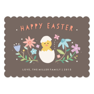 "Hatched Non-Photo Easter Card - Chocolate 5"" X 7"" Invitation Card"