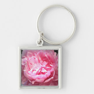 Hatched Pink Peony Keychain