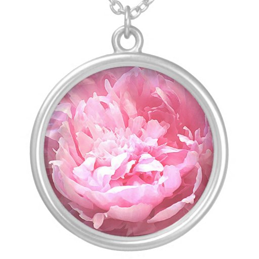 Hatched Pink Peony Necklace