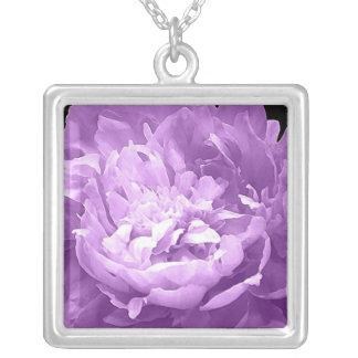 Hatched Purple Peony Square Pendant Necklace