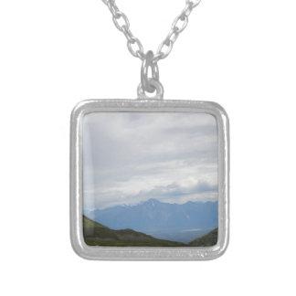 Hatchers Pass Mountain View Alaska Square Pendant Necklace