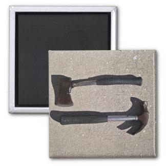 Hatchet and hammer in display fridge magnet