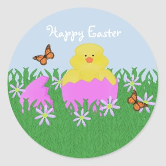 Hatching Baby Duck Happy Easter Stickers sticker