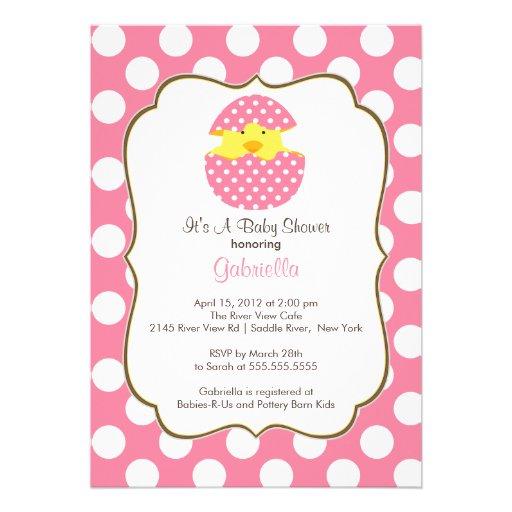 Hatching Chick Baby Shower Invitation Pink Girl