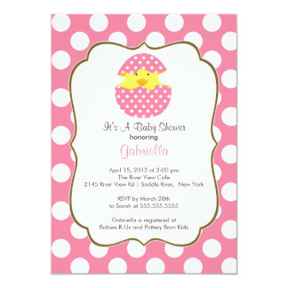 Hatching Chick Baby Shower Invitation Pink Girl