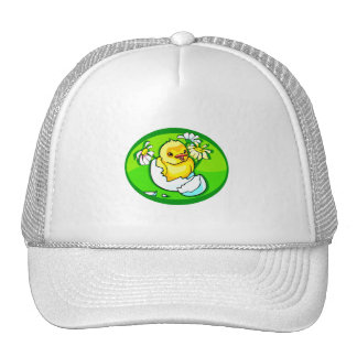 hatching chick daisies green oval trucker hat