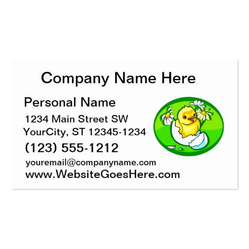 hatching chick daisies green oval business card template