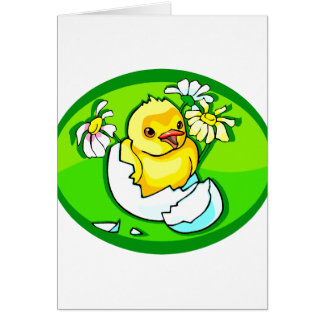 hatching chick daisies green oval card