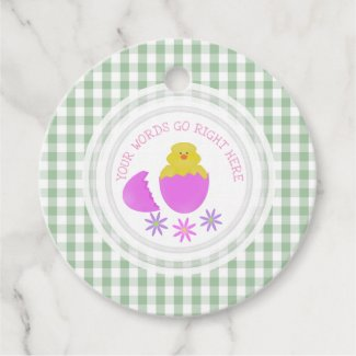Hatching Chick Gingham Personalized Favor Tags