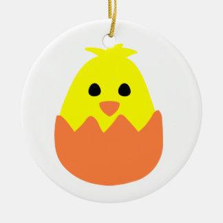 Hatching Easter Chick Round Ceramic Decoration