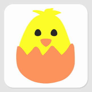 Hatching Easter Chick Square Sticker