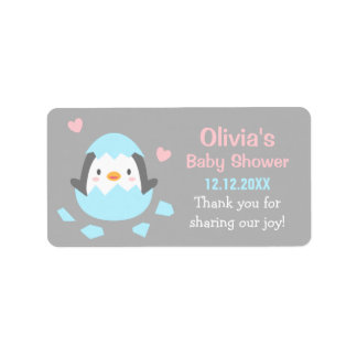 Hatching Penguin Baby Shower Thank You Labels