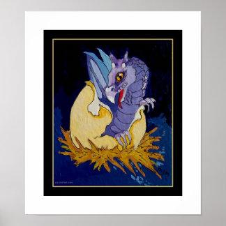 Hatching Purple Dragon Posters