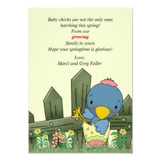 "Hatchling Bird Pregnancy Announcement 5"" X 7"" Invitation Card"