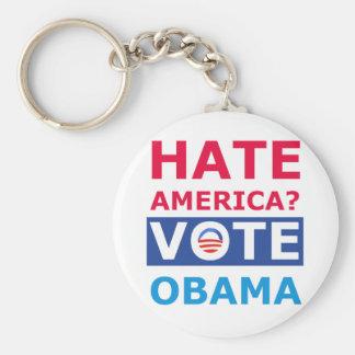 Hate America? Vote Obama (Anti Obama) Basic Round Button Keychain