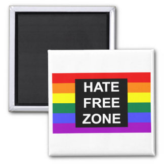 Hate Free Zone 2 Inch Square Magnet